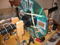 Early construction phase of Natasha's Wimshurst machine