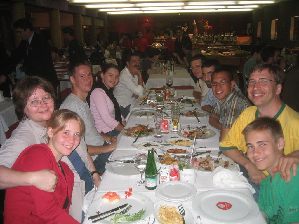 At a restaurant in Rio, Krys, Natasha, Nick ,Greg Dudek