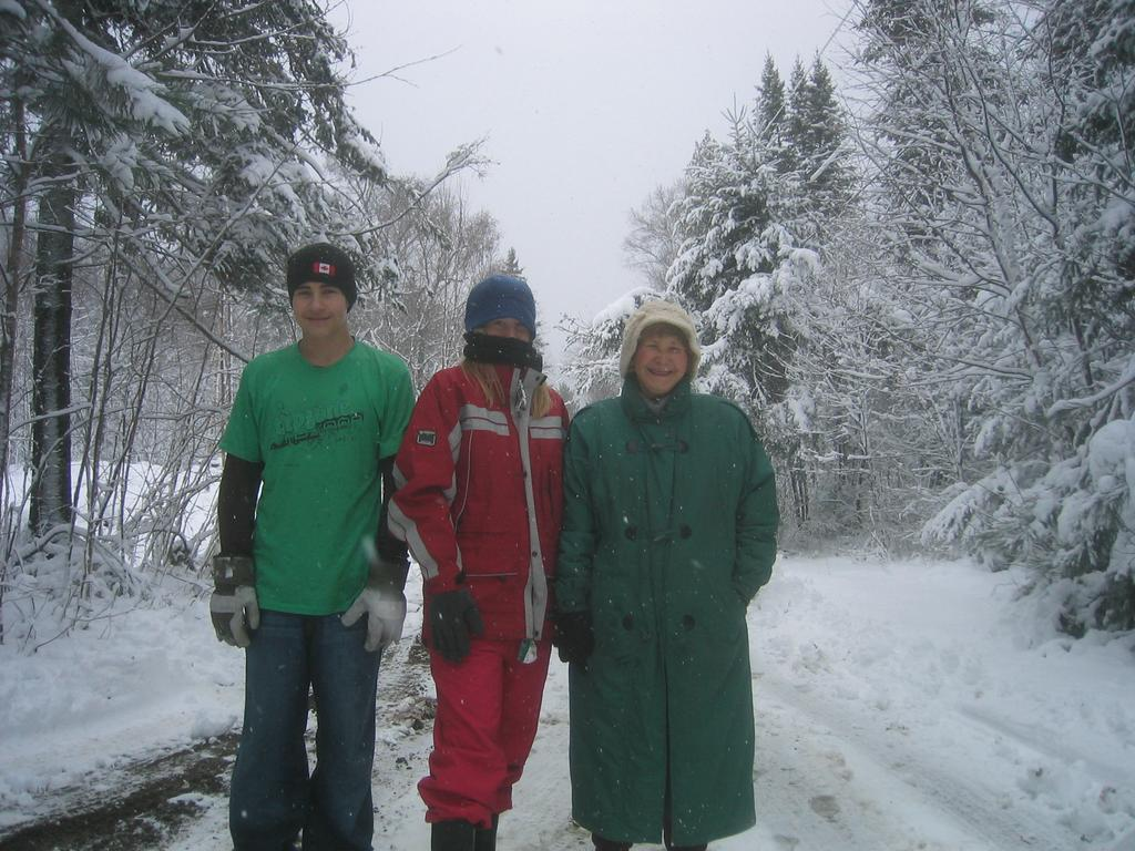 Kids & a grandmother in early snow